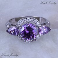 Cheap Classic Atmosphere Style Purple Amethyst CZ Diamond Ring, Silver Platinum Plated Wedding Rings J0263