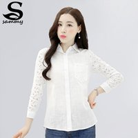 Cheap Free Shipping 2015 New Korean Spring Summer Women Solid Slim shirt Full Sleeve Floal Hollow Out Turn-down Collar Fashion Top