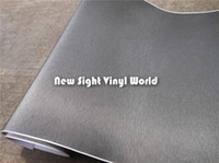 3d carbon fiber vinyl - High Quality Dark Grey Brushed Metallic Vinyl Film For Car Wrapping Air Bubble Free Size M Roll