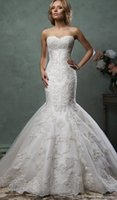 Cheap 2016 Amelia Sposa Wedding Dresses New Design Sweetheart Sleeveless Appliques Tulle Sweep Teain Mermaid Bridal Gowns