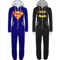 batman onesie - Hot Sale New Unisex Mens And Womens Onesie Superman Batman Hooded Zip Front Jumpsuit