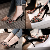 Cheap 2015 Summer Street Style Printed Flower High Heels Wedding Shoes Handmade Bridesmaids Heels Cheap Spring Black Brides Shoes Pointed Toes