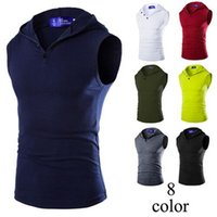 Wholesale Fashion New Summer Men tank top Brand Sleeveless vest Hooded Pullovers For Men Plus Size Casual Men Clothing