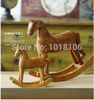 antique wood rocking horse - zakka Wooden Horse Home Decoration Wood Craft Christmas Gift Wood Carving Set Wood Carving Antique Rocking Horse Gift