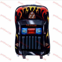 Wholesale New quot police cars HOT D EVA Pull rod box boy kids cool luggage suitcase Kids Travel cartoon school bags children gift