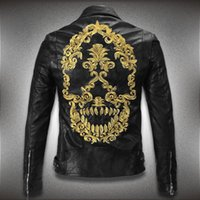 Wholesale Fall New Fashion leather Local Tyrants Gold Embroidery Skulls Men s Wear Coat Lapels mens leather jackets coat M XL