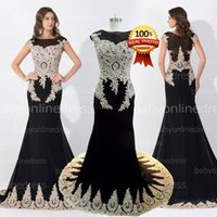 Reference Images apple india - New Fashion Custom Amazing Black Crystal Prom Evening Dresses Sheer Neck Appliques Beads Real Photos Wedding Gowns Arabic India