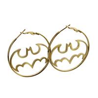 large hoop earrings - High Quality batman hoop earring large golden stainless steel jewelry