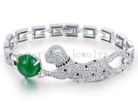 Wholesale Chalcedony chain bracelet Natural real green chalcedony sterling silver Leopard bracelet Perfect Jewelry DH