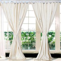 Wholesale Tab Top Hollow Beige Cotton Linen Lace Crochet Curtain for Living Room Hotel Cafe Window Decoration handmade