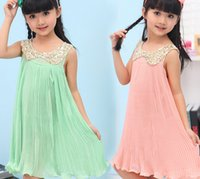 Wholesale Loose Chiffon Girl - Dress for children summer loose Cool and refreshing chiffon kids pleated dress fashion paillette Doll brought girls dresses ab2423 XQZ