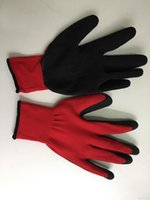 latex coated work gloves - 13 gauge red polyester liner black latex palm coating crinkle finish latex work gloves