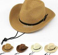 Cheap Wholesale-2015 Fashion Summer Unisex Foldable Floppy Beach Hat Sun Straw Hat Cap Cowboy Hat