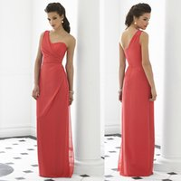 Wholesale Coral Bridesmaid Dresses One Shoulder Floor Length Draped Prom Dresses W2440