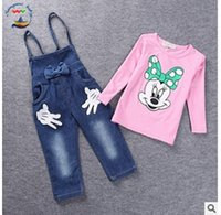 Wholesale Baby Outfit Spring Cartoon Girls Sets Baby Girls Minnie Mouse Outfits Long Sleeve Tops T shirt Bib Denim Pants Overalls Set