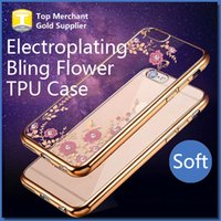 apple blossom rose - Bling Diamond Chromed Flower Blossom Electroplating Soft TPU Case For Iphone S Plus Luxury Rose Gold Metallic Plating Case Cover