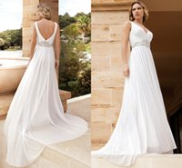 A-Line Reference Images 2016 Spring Summer 2016 Demetrios Beach Bridal Gowns Chiffon A Line Destination Wedding Dresses with V Neck and Ruched Beaded Waist Open Back and Chapel Length