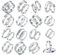 Wholesale 20styles Fashion Hypoallergenic Intertwined Love Couple Crystal Rings Sterling Silver Rings Open size Adjustable Hot Sell