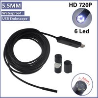Wholesale 6 LED mm Dia Waterproof USB Endoscope USB Borescope Inspection Wire Camera M With Mini Camera Mirror Hook Magnet A3