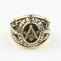 Wholesale Freemason Men s Gold Tone Master Free Mason Stainless Steel Masonic Ring