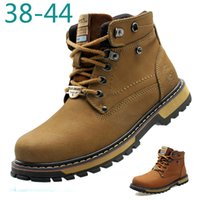 work boots - Muscle Handmade Genuine Cowhide Leather Men Work Tooling Ankle Boots Waterproof Anti Skid Leisure Winter Outdoor Hiking Snow Boot Shoes