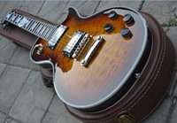 Wholesale High quality Tiger maple Top custom Brown burst Electric Guitar With Hard Case