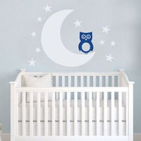 baby moons - Moon and Stars OWL Nursery Wall Decal Art Sticker for Baby Room Decor