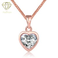 australian crystal necklace - High Quality Fashion Jewelry Australian CZ Crystal Zircon Rose Gold Plated Classic Romantic Heart Pendant Necklace for Women