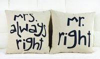 Wholesale Mr Right and Mrs Always Right Linen Car Home Accesorries Cushion Covers Pillow Cases Pillow cover by DHL sets
