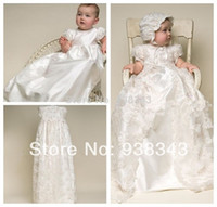 Wholesale Hot Sale infant Children Clothing Silk Lace Christening Gowns Baby Baptism Christening Dress Newborn Kids girls white princess dresses
