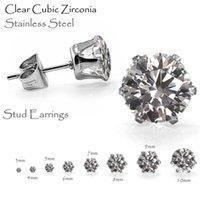 achat en gros de pierres précieuses inoxydable-Tailles 3mm à 10mm 10pairs nouvelles diamants boucles d'oreilles de diamants de conception, boucles d'oreilles en zircon cubique bijoux en acier inoxydable pour les hommes et les femmes