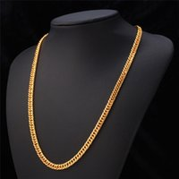 Wholesale Gold Chain Necklace K Stamp Real Gold Plated MM CM quot Necklaces Classic Curb Cuban Link Chain Hip Hop Men Jewelry