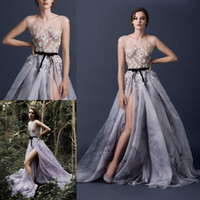 blue prom dresses - 2015 Prom Dresses Paolo Sebastian Neck Cap Sleeve Appliques Flowers A Line Split Side Sexy Modest Pageant Evening Party Gowns
