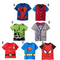 Wholesale 2016 Children Cotton Short Sleeve T shirts Kids Clothing Summer Cute Spider Man Superman T shirts Kids Clothing Clothes Design for Boys