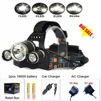 ac battery lamps - HOT Boruit Lumen XCREE XM L T6 LED Headlamp Headlight Head Torch Lamp AC Charger Car Charger Battery for Outdoor Camping