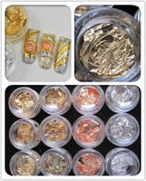 Wholesale 12 pots Gold Silver Copper Foil Paillette Chip Colors Nail Art Glitter Foil Decoration Flake Leaf Set Retail