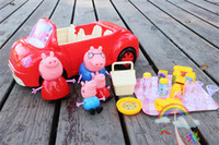 Wholesale Hot new pigs toys for kids play peppa pink Pig family with car ornaments doll cutlery Original box packing