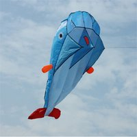 Wholesale Hot selling Outdoor Sports Beach Entertainment Kites D Huge Parafoil Giant Dolphin Blue Kites With m string line