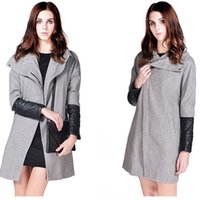 Wholesale Double Layer Grey Woolen Trench Winter Coat Asymmetrical Oblique Zipper Front Fly Turtleneck Quilting Faux Leather Overcoat