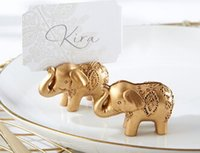 Wholesale Engagement wedding favor party favors Lucky Golden Elephant Place name Card Holder table Name Holder With blank Card Gold Decoration