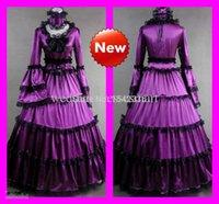 wedding dresses long sleeved - Purple Lolita Dresses Vintage Long Sleeved Lace Floor Length Bridal Gothic Victorian Wedding Dresses