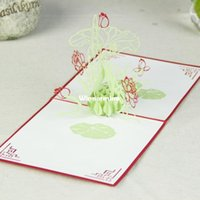 Wholesale Marvelous Lotus Handmade Creative Kirigami Origami D Pop UP Greeting Gift Cards set of
