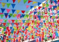 atmosphere events - Color burgee flag Event party supplies Birthday decoration joyful atmosphere color mixed dacron material meters