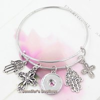 faith bracelet - New Arrival Fashion DIY Interchangeable Alex and Ani Bangles Religious Faith Cross Hand of Fatima Charms Ginger Snaps Bracelets Jewelry