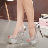 Pumps silver wedding shoes - 2015 New Arrival Sexy Lace fish head High Heel Out Outs Summer Bridal Shoes Gold Silver Wedding Shoes