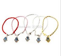 bangles braclets - 50Pcs Fashion Vintage Gold Silver Hamsa Evil Eye Hand Fatima Charms Mix Weave Leather Good Luck Braclets Bangles Jewelry L377