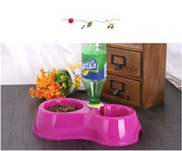 Cheap Wholesale-Dogs Cats Dual Port Feeder Pet Utensils Dog Feeding & Watering Bowl Eco-friendly Slip-resistant Water Dispenser Y30127