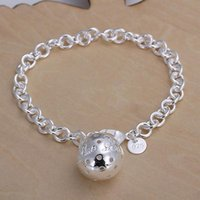 Wholesale Lady girl vogue Jewlery sterling silver plating Charm pendant Hollow ball bracelets Shrimp buckle bracelet H043