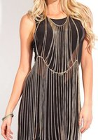 chain metal dress - Hot Selling European Multilayer Tassel Necklace Exaggerated Punk Body Chain Women Fashion Accessories Metal Chain Party Dress
