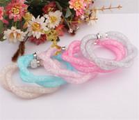 Wholesale Bright color Mixed Stardust Crystal Bracelet with magnetic clasp unique designed braided weave hollow punk bracelet bangle